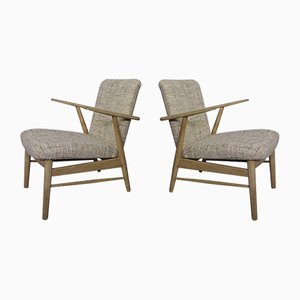 Vintage Danish Oak Armchairs, Set of 2