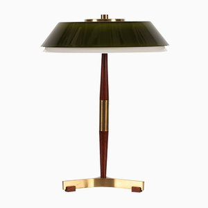 Senior Desk Lamp with Green Glass Shade by Jo Hammerborg for Fog & Mørup, 1960s