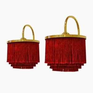 Lámparas de pared V271 de borde de seda y latón de Hans-Agne Jacobsson, años 60. Juego de 2