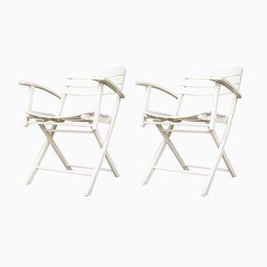 Chaises de Jardin Vintage Pliantes en Bois Laqué Blanc d'Herlag, Set de 2