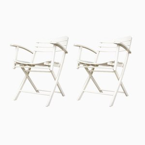 Vintage Folding Garden Chairs in White Lacquered Wood from Herlag, Set of 2