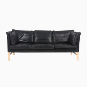 Danish Black Leather Sofa by Takashi Okamura & Erik Marquardsen for Skipper, 1980s