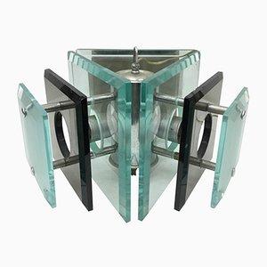 Lámpara colgante de acero y vidrio de Fontana Arte, años 70