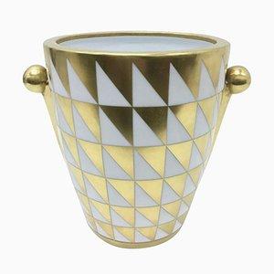Bisquit Porzellan & Gold Vase von Giovan Battista Vannozzi für Richard Ginori, 1980er