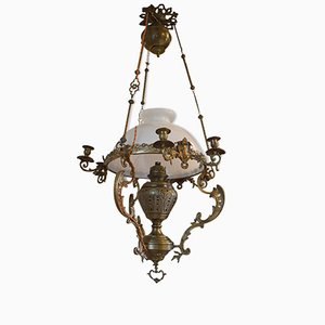 Large 19th-Century Chandelier in Bronze and Brass