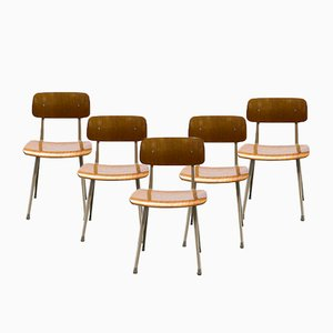 Industrial Side Chairs by Friso Kramer & Wim Rietveld for Ahrend De Cirkel, 1950s, Set of 6