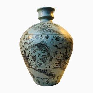 Jarrón de pie danés Art Déco de cerámica gris de Lyngby Porcelæn, años 30