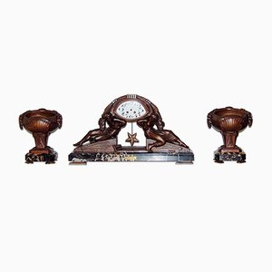 Pendule Clock And Cassolettes Art Déco par Van De Voorde, 1920s