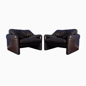 Maralunga Chairs by Vico Magistretti for Cassina, 1970s, Set of 2