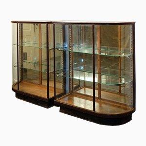 Vintage Glas Theken mit Gebogenem Glas, 2er Set