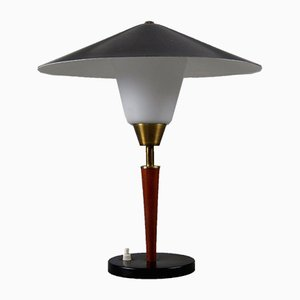 Danish Teak, Brass and Opaline Glass Table Lamp from Fog & Mørup, 1950s