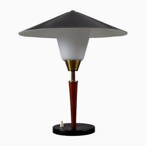 Lámpara de mesa danesa de teca, latón y vidrio opalino de Fog & Mørup, años 50