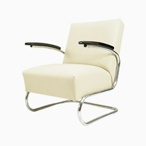 Beige Leather Cantilever Armchair from Mücke Melder, 1930s