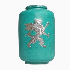 Vaso Argenta vintage in gres di Willhelm Kåge per Gustavberg