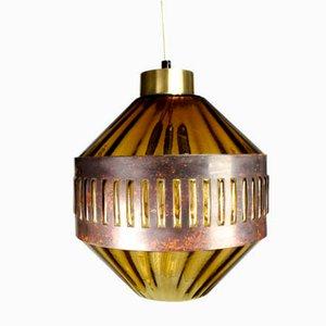 Lampada a sospensione in rame e vetro ambrato di Nanny Still, anni '60
