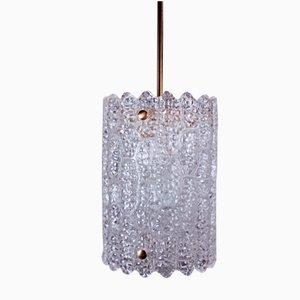Lampada a sospensione cilindrica moderna in cristallo di Carl Fagerlund per Orrefors, Svezia, anni '60