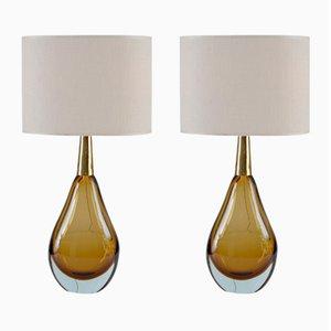 Lámparas de mesa Sommerso Mid-Century de cristal de Murano de Seguso Vetri D'Arte. Juego de 2
