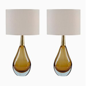 Lampes de Bureau Sommerso en Verre de Murano de Seguso Vetri D'Arte, Set de 2