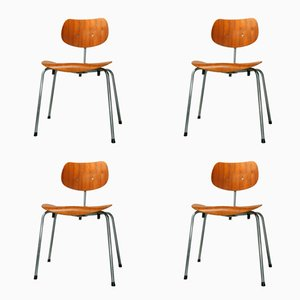 Mid-Century Teak Plywood SE 68 Chairs by Egon Eiermann for Wilde & Spieth, 1970s, Set of 4