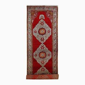 Alfombra de pasillo Oushak turca vintage hecha a mano, años 40