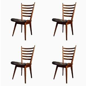 Chaises de Salon Vintage en Contreplaqué et Teck, Pays-Bas, Set de 4