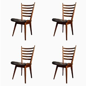 Vintage Dutch Plywood and Teak Dining Chairs, Set of 4