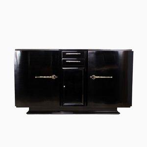 Art Deco Black Piano Lacquer Sideboard, 1930s