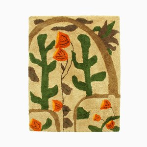 Large Colorful Cactus & Flower Landscape Wall Tapestry, 1960s