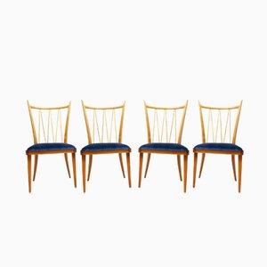Esszimmerstühle aus Kirsche & Samt, 1950er, 4er Set