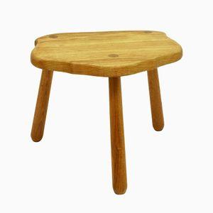 Solid Oak Tripod Stool or Side Table, 1960s