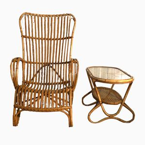 Rattan Lounge Chair & Side Table by Rohé Noordwolde, 1968
