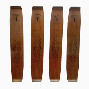 Vintage Teak Coat Hooks, 1950s, Set of 4
