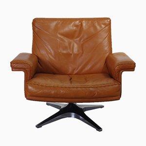 Club chair DS35 in pelle color cognac di De Sede, anni '60