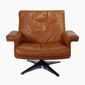 DS35 Cognac Swivel Club Chair from De Sede, 1960s