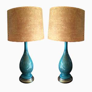 Mid-Century Turquoise Ceramic Table Lamps, 1965, Set of 2