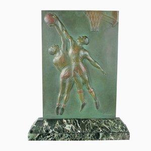 Placa Art Déco de baloncesto de bronce de Robert Delandre, años 30