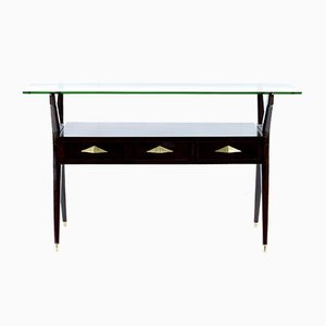 Mid-Century Italian Black Console with 3 Drawers, 1950s