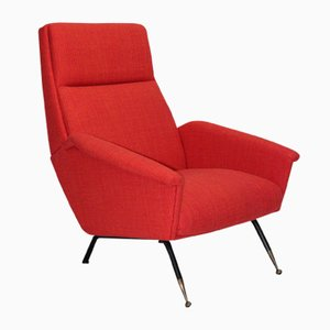 Rote Mid-Century Sessel, 1960er, 2er Set
