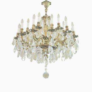 Bronze Chandelier with Murano Glass Drops, 1940s