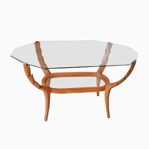Mid-Century Italian Beech & Glass Coffee Table, 1950s