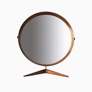 Espejo de mesa Mid-Century grande de teca de Östen & Uno Kristiansson para Luxus, años 60