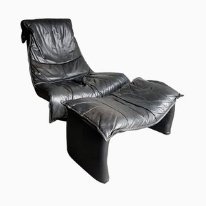 Large Vintage Black Leather Swivel Lounge Chair with Ottoman, 1980s