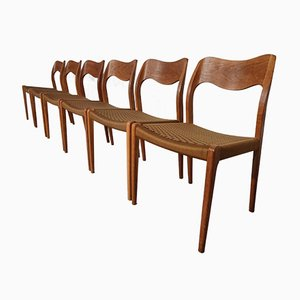 Model 71 Oak Dining Chairs by Niels O. Møller for J.L. Møllers, 1950s, Set of 6