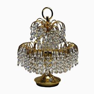 Lámpara de mesa austriaca dorada de cristal, años 70