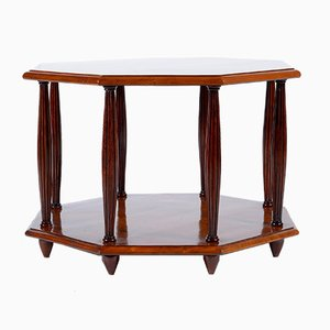 Art Deco Italian octagonal bird eyes maple sofa coffee table or side table.