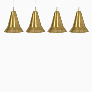 Brass Pendant Lamps by Hans Bergström for Ateljé Lyktan, 1950s, Set of 4