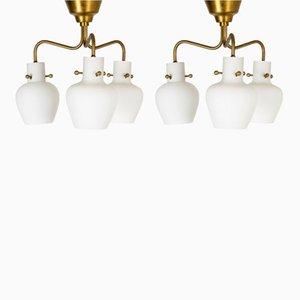 Lámparas colgantes de Hans Bergström para Ateljé Lyktan, años 40. Juego de 2