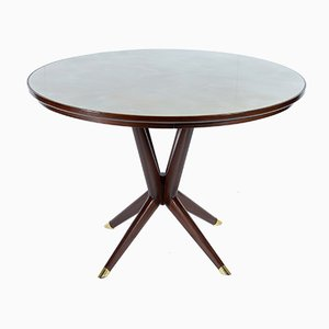 Italian Round Table with Glass Top, 1950s