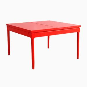 Mid-Century Red Lacquered Extendable Dining Table by Vico Magistretti, 1963