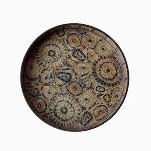 Grand Plat BACA Vintage Circulaire Marron par Nils Thorsson pour Royal Copenhagen, Danemark